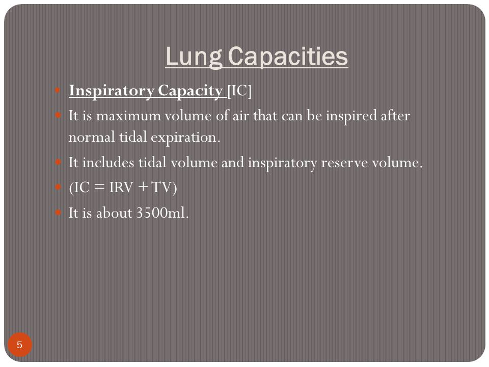 Lung Capacities Inspiratory Capacity [IC]